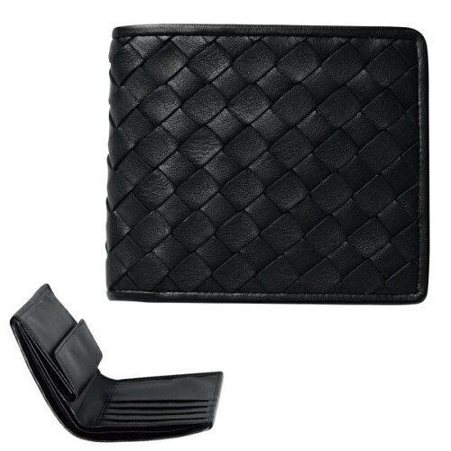 日本製牛革編込み二つ折り財布 クロアミコミフタツオレJ17-232B【smtb-s】