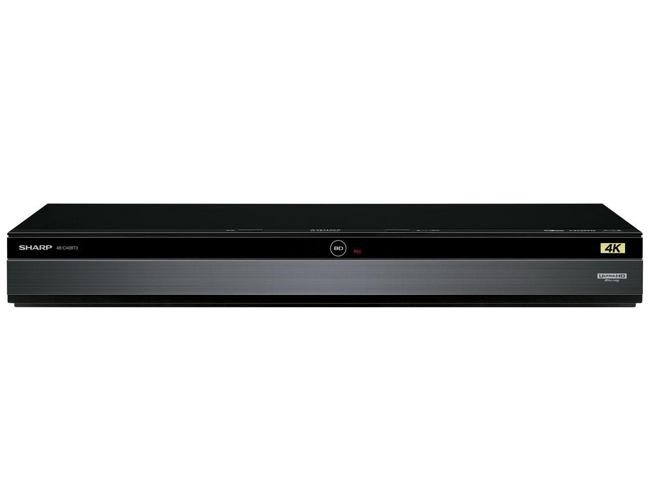 シャープ(SHARP) シャープ 4TB 3チューナー ブルーレイレコーダー 4Kチューナー内蔵 4K放送W録画対応 4Kアップコンバード対応 UltraHD再生対応 4B-C40BT3【smtb-s】
