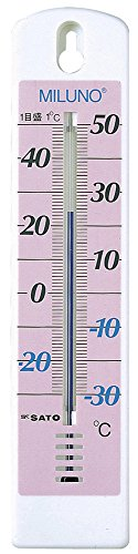 送料無料 選択 ディスカウント 佐藤計量器製作所 ピンク カラー寒暖計ミルノ