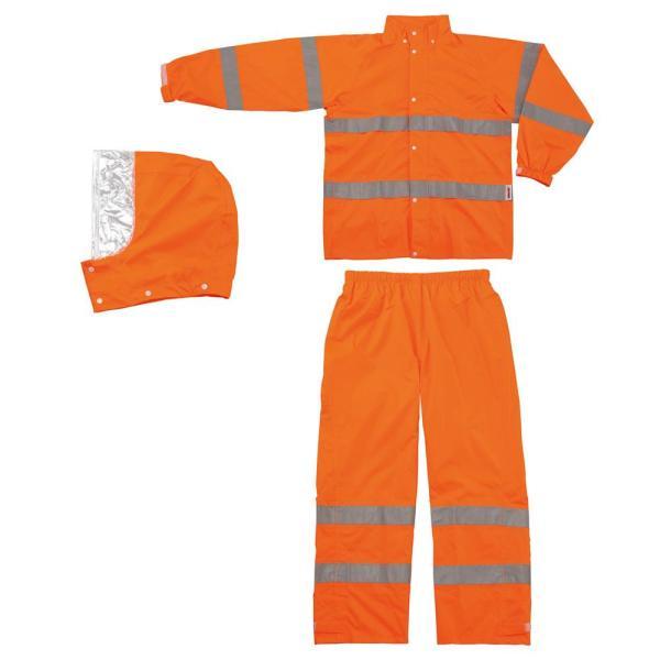 スミクラ レインウェア 高視認型レインスーツ A-611 蛍光オレンジ 4L (1357007)【smtb-s】