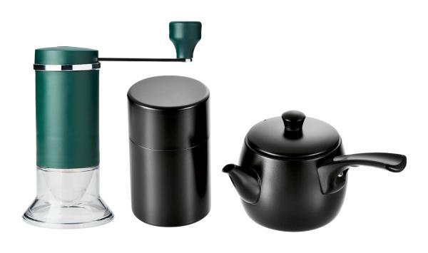 よこやま 燕人の匠 急須ブラック&茶筒ブラック&お茶ミル ETQ-1501【smtb-s】