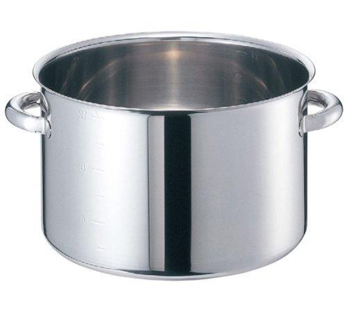 ノーブランド 商品コード:8689800 EBM モリブデンジII 半寸胴鍋(目盛付)45cm 蓋無【smtb-s】