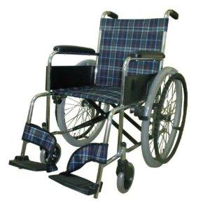 美和商事 【MIWA】車椅子(スチール製) MW-22ST カラー:チェックネイビー(11873) ※北海道、沖縄、離島配送不可【smtb-s】