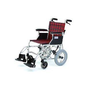 美和商事 【MIWA】車椅子 HTB-12 チェックレッド 車いす (11855) ※北海道、沖縄、離島配送不可【smtb-s】