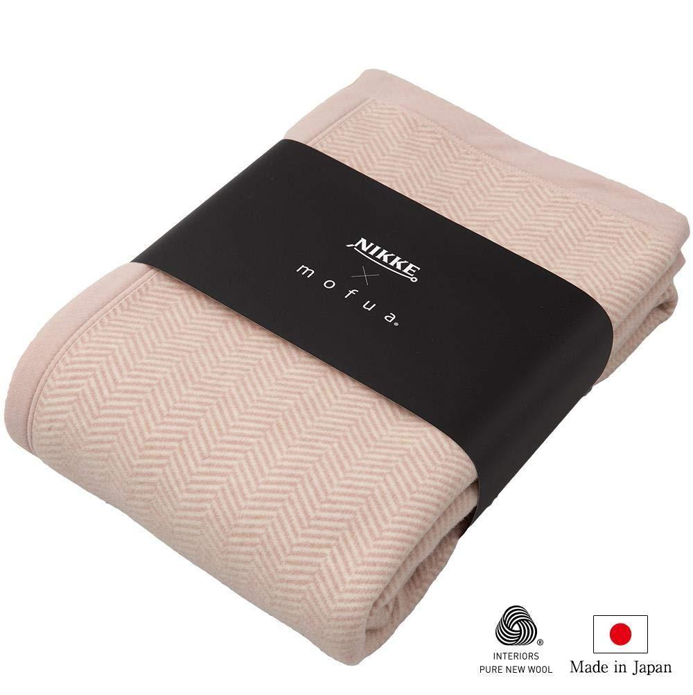 ナイスデイ NIKKE×mofua ウール100% 洗える毛布 品番:56450101 色:ピンク サイズ:S【smtb-s】