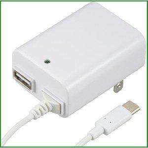 送料無料 オーム電機 ACアダプター USB 注目ブランド 大特価!! Type-C+Type-A ホワイト