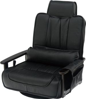 ヤマソロ 木製肘付き回転座椅子 ワイドタイプ   83-865【smtb-s】