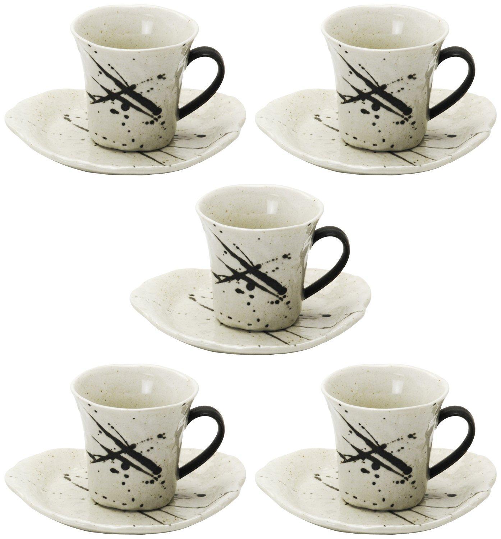 キャンペーンもお見逃しなく 送料無料 林金之助商店 美濃焼 コーヒー碗皿 801-27-41E 出荷 白唐津 5 5客セット