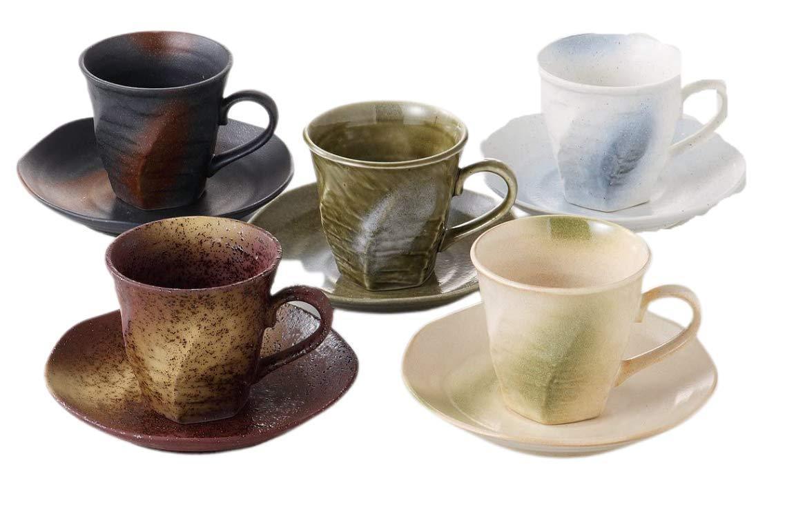 送料無料 エールネット Ale-net 35%OFF コーヒーカップφ8×7.5cm 土物窯変 海外並行輸入正規品 5客 コーヒーカップ揃
