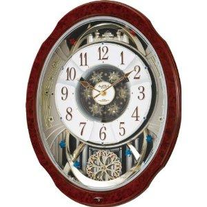 リズム時計 Small World 電波 からくり 掛け時計 スモールワールドブルームDX 30曲 メロディ 茶 (木目仕上) 4MN499RH23【smtb-s】