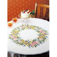 オリムパス製絲 ししゅうキット 1187(オフホワイト) ワイルドローズのテーブルクロス (4520g)【smtb-s】