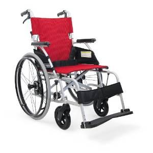カワムラサイクル 軽量ベーシックモジュール車いす ソフトタイヤ(軽量)仕様 バンドブレーキ シート幅40cm 中床22in 赤ストライプ BML22-40SB 非 E2519002【smtb-s】