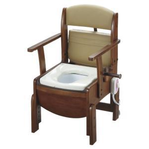 リッチェル 木製トイレ きらく コンパクト 固定式肘掛けタイプ 暖房便座【smtb-s】