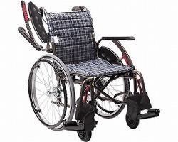 カワムラサイクル 次世代型標準自走式車いす ウェイビットプラス ソフトタイヤ WAP22-40S 濃紺チェック【smtb-s】