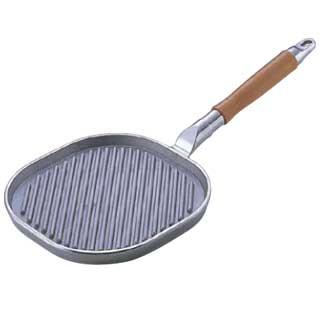 『 フライパン グリルパン 』アルミ鋳物 木柄ステーキパン 大