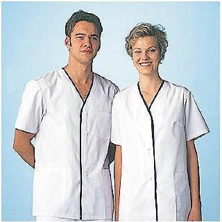 【まとめ買い10個セット品】男性用デザイン白衣 半袖 FA-347 M