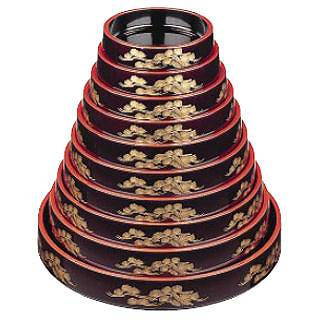 6-1976-0306 5-1782-0306 3-1566-0306【 食器 すし桶 販売 通販 業務用 】 【まとめ買い10個セット品】DX富士型桶 溜パール老松 尺2寸 1-478-16