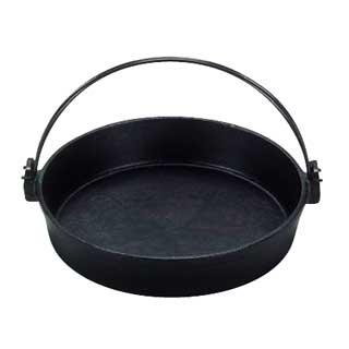 IH対応 [S]鉄すき焼き鍋 ツル付[黒ぬり] 20cm[卓上鍋関連品]