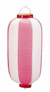 【まとめ買い10個セット品】ビニール提灯長型 《9号》 b2 ピンク/白 【ECJ】