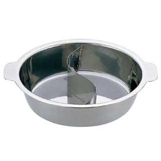【まとめ買い10個セット品】UKチリ鍋 (2仕切・蓋なし) 29cm(18-0・電磁対応)