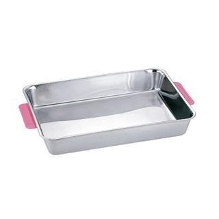 【まとめ買い10個セット品】18-8 カラーハンドル角バット 8枚取 ピンク