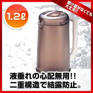 【まとめ買い10個セット品】業務用 BK ノンウェットピッチャー 1.2L スモークブラウン