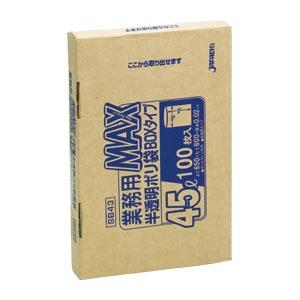 【まとめ買い10個セット品】業務用MAX100枚BOX 半透明ポリ袋〔100枚入〕 SB43 ジャパックス 【 生活用品 家電 ゴミ箱 日用雑貨 ゴミ袋 】【ECJ】
