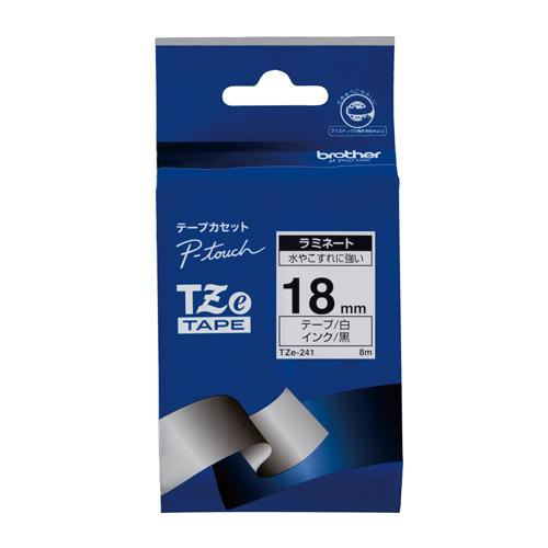 【まとめ買い10個セット品】ピータッチ用 テープカートリッジ ラミネートテープ 8m TZe-241 白 黒文字 1巻8m ブラザー【 オフィス機器 ラベルライター ピータッチテープ 】【ECJ】