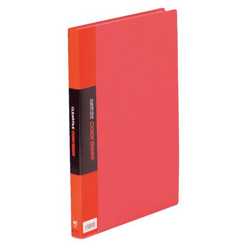 【まとめ買い10個セット品】 クリアーファイル カラーベース ポケット溶着式 A4判タテ型 40ポケット 132CW 赤 【ECJ】