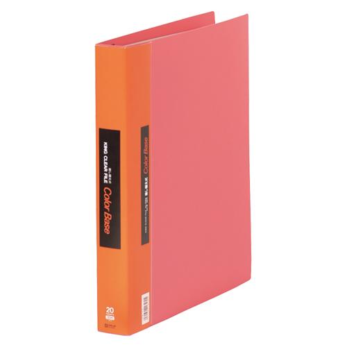 【まとめ買い10個セット品】クリアーファイル・カラーベース差替え式 A4判タテ型(15ポケット+5インデックスポケット)・30穴 139W 赤 1冊 キングジム【ECJ】