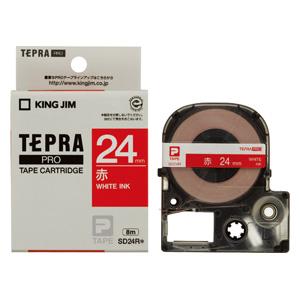 【まとめ買い10個セット品】 「テプラ」PRO SRシリーズ専用テープカートリッジ [ビビッド] 8m SD24R 赤 白文字 【ECJ】