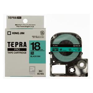 【まとめ買い10個セット品】「テプラ」PRO SRシリーズ専用テープカートリッジ カラーラベル [パステル] 8m SC18G 緑 黒文字 1巻8m キングジム【 オフィス機器 ラベルライター テプラテープ 】【ECJ】