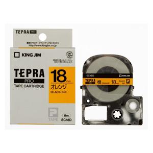 【まとめ買い10個セット品】 「テプラ」PRO SRシリーズ専用テープカートリッジ カラーラベル [パステル] 8m SC18D オレンジ 黒文字 【ECJ】