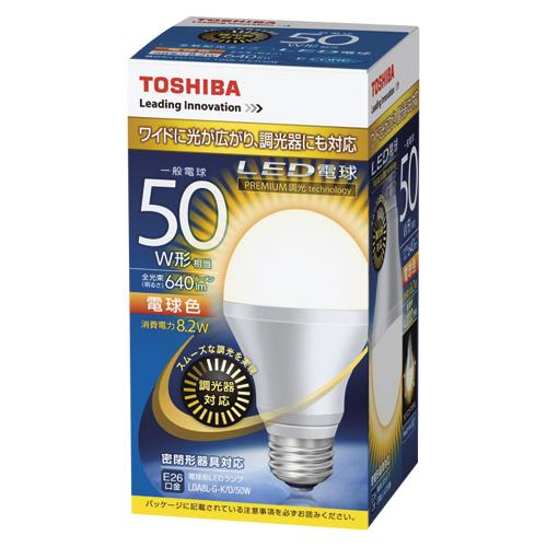【まとめ買い10個セット品】E-CORE[イー・コア] LED電球 一般電球形 光が広がるタイプ 全光束640lm 調光器具対応 LDA8L-G-K/D/50W 1個 東芝 【メーカー直送/代金引換決済不可】【ECJ】