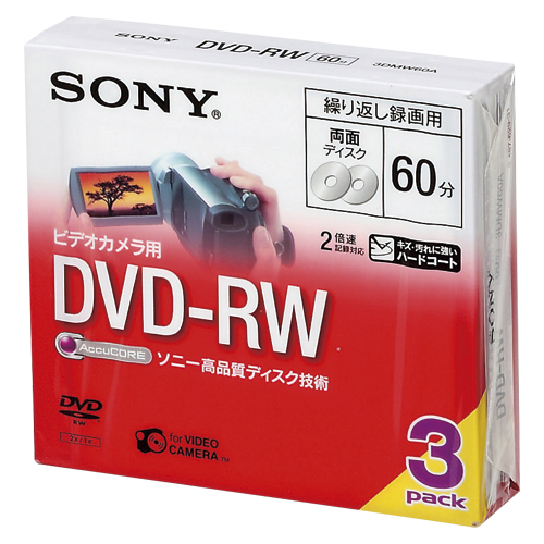 【まとめ買い10個セット品】8cm DVD-RW DVDビデオカメラ用書き換えタイプ <両面> 3DMW60A 3枚 ソニー【ECJ】