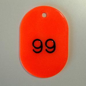 【まとめ買い10個セット品】番号札 小判型・スチロール製 番号入(連番) CR-BG42-R 赤 50枚1セット クラウン【 事務用品 名札 番号札 番号札 】【ECJ】