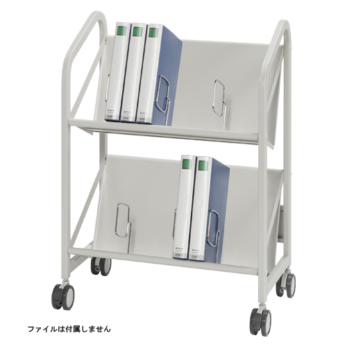 【まとめ買い10個セット品】 ファイルサポートワゴン 2段タイプ CR-FSW260-W ホワイトグレー 【ECJ】