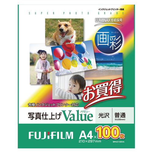 【まとめ買い10個セット品】インクジェットプリンター用紙 写真仕上げ Value WPA4100VA 100枚 富士フイルム【ECJ】