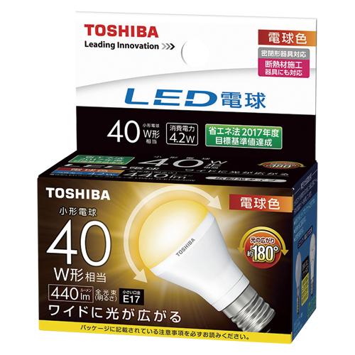 【まとめ買い10個セット品】LED電球 ミニクリプトン形 広配光タイプ 全光束440lm LDA4L-G-E17/S/40W 1個 東芝 【メーカー直送/代金引換決済不可】【ECJ】
