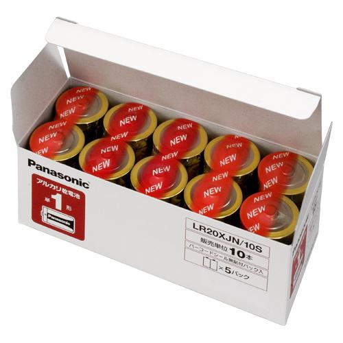 【まとめ買い10個セット品】 アルカリ乾電池 パナソニックアルカリ(金) オフィス電池 LR20XJN/10S 【ECJ】