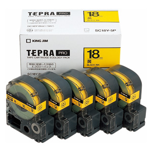 【まとめ買い10個セット品】「テプラ」PRO SRシリーズ専用テープカートリッジ エコパック 8m5巻入 SC18Y-5P 黄 黒文字 5巻(1巻8m) キングジム【ECJ】
