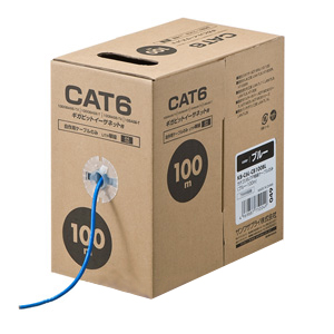 サンワサプライ CAT6UTP単線ケーブルのみ 100m KB-C6L-CB100BL ブルー 【ECJ】