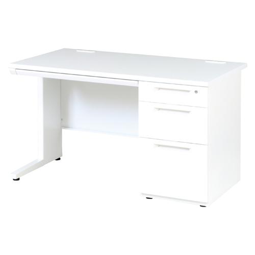オフィスデスク 片袖机 LDC-K127-R3(WH) ホワイト/ホワイト 【ECJ】