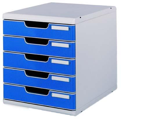 オフィスセット・システム2 5段引き出し 0301-4003 ライトグレー/ブルー 【ECJ】