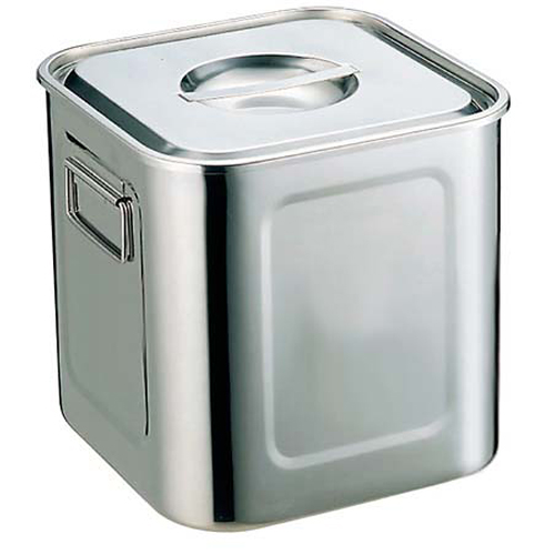 【まとめ買い10個セット品】UK 18-8 角型 キッチンポット 27cm 手付【 ストックポット・保存容器 】 【ECJ】
