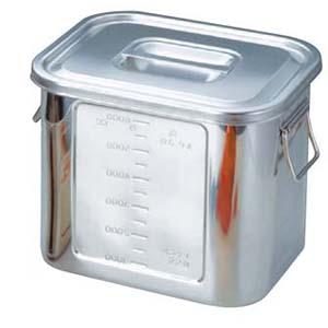 BK 18-8 角型 キッチンポット 目盛付 28型 手付【 ストックポット・保存容器 】 【ECJ】