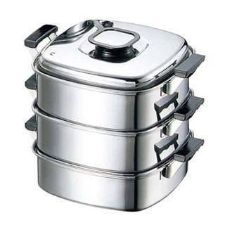 【まとめ買い10個セット品】 【業務用】モモ 18-0 プレス 角蒸器 3段 27cm