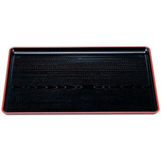 【まとめ買い10個セット品】 【業務用】一休木目盆 黒天朱 尺6寸 ABS樹脂 NS加工 1-58-14