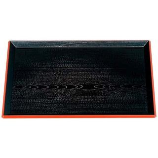【まとめ買い10個セット品】 【業務用】富士長手木目盆 黒渕朱 尺6寸 ABS樹脂 1-61-6