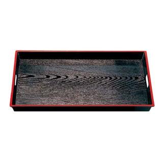 【まとめ買い10個セット品】 【業務用】木目脇取盆 黒天朱 尺8寸 ABS樹脂 NS加工 1-107-9